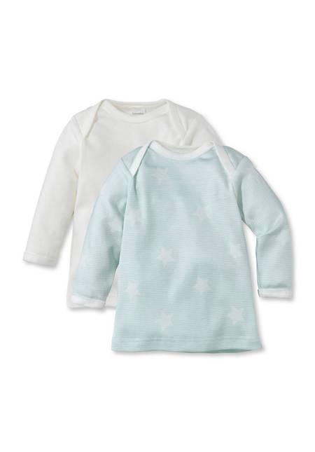 Langarmhemd aus reiner Bio-Baumwolle 2er-Set