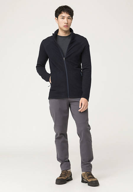 Light wool fleece jacket made from pure organic merino wool