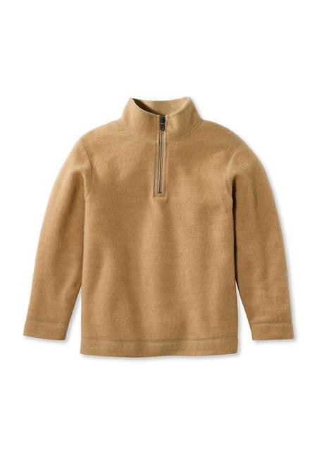 Light wool fleece troyer made from pure organic merino wool