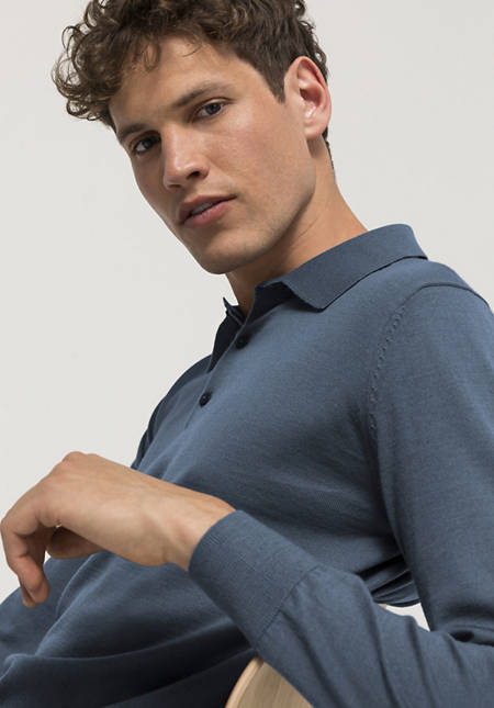 Long-sleeved polo, plant-dyed from pure merino wool