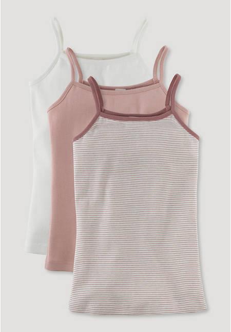 Mädchen-Unterhemd aus reiner Bio-Baumwolle im 3er-Set