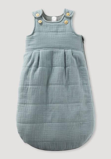 Muslin sleeping bag made of organic cotton with wool padding