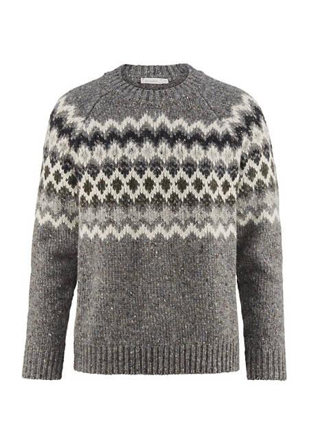Norweger-Pullover aus Schurwolle mit Alpaka