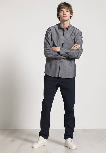Overshirt Comfort Fit aus Bio-Baumwolle mit Leinen