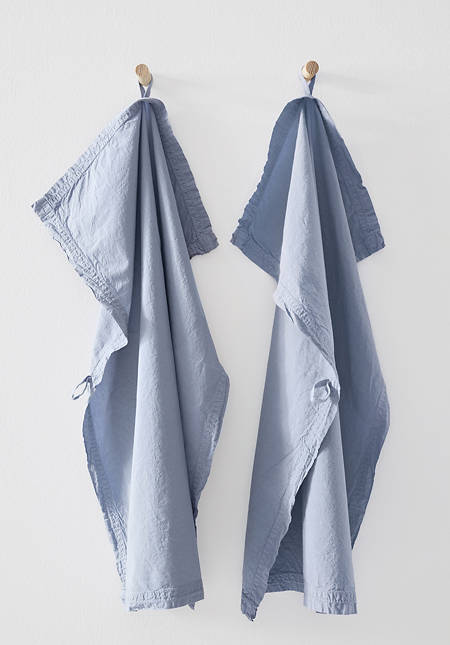 Percale tea towel made of pure organic cotton in a set of 2