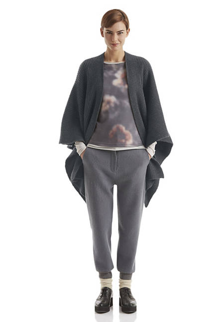 Poncho aus recycled cashmere