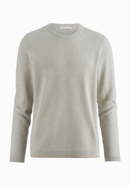 Pullover aus Bio-Baumwolle mit Seide und Leinen