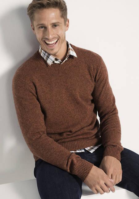 Pullover aus Schurwolle und Yakwolle mit Baumwolle