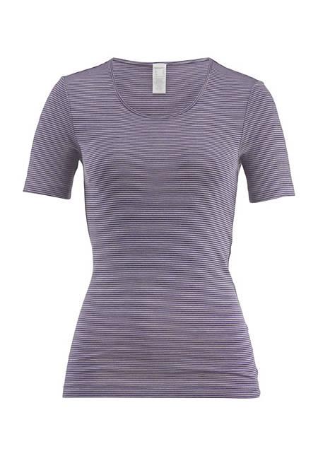 PureSTRIPES short-sleeved shirt made of organic merino wool and silk