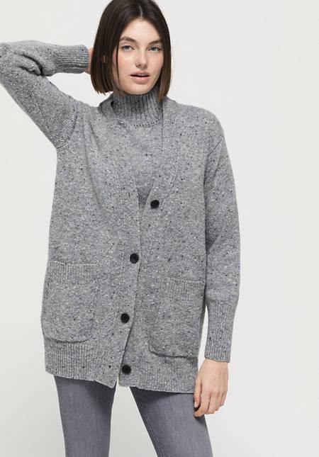 Pure new wool tweed cardigan