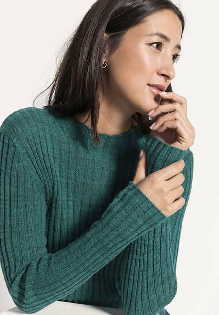 Ripp-Pullover aus Leinen mit Bio-Baumwolle