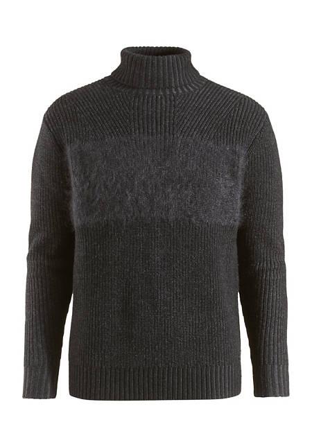 Rollkragen-Pullover aus Schurwolle mit Mohair