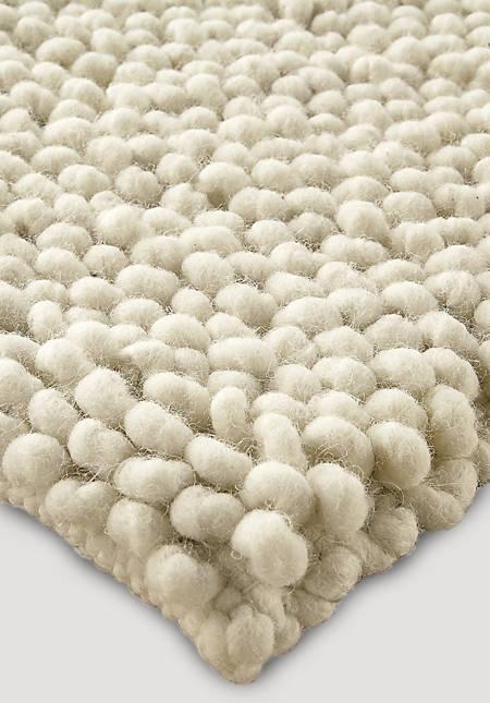 Schlingenteppich aus reiner Deichschaf-Wolle