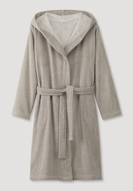 Short bathrobe made from pure organic cotton terry