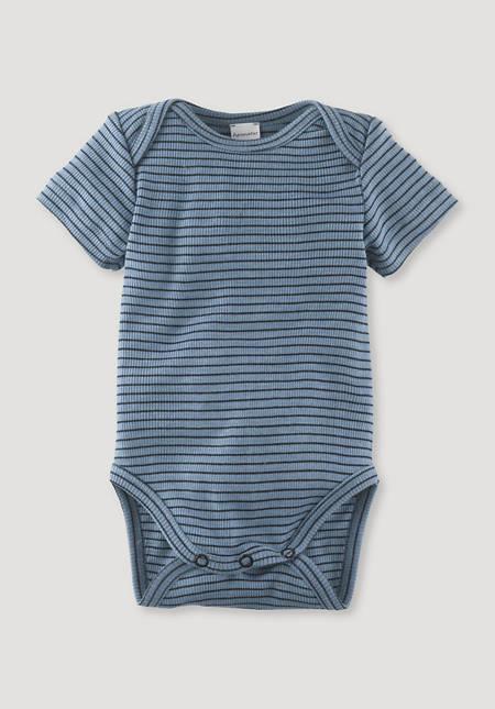 Short-sleeved body made of organic merino wool and silk
