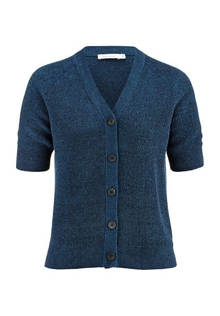 Short-sleeved cardigan made of organic cotton and linen