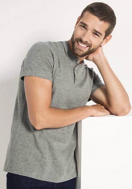 Stehkragen-Shirt aus Bio-Baumwolle mit Leinen