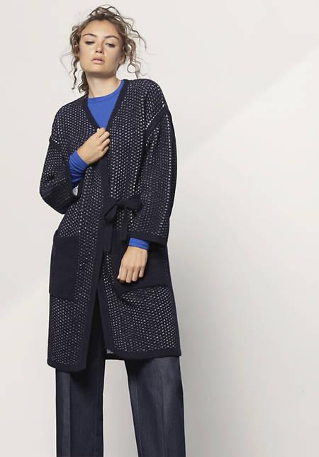Strickmantel aus Schurwolle mit Bio-Baumwolle