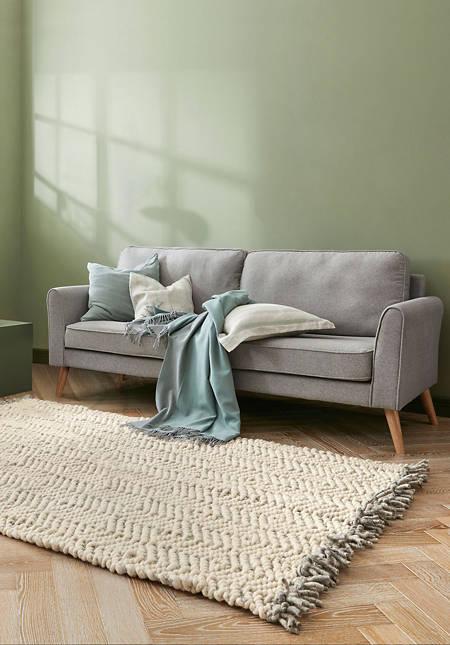 Structured carpet Deichschaf made of pure new wool