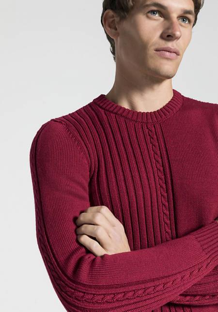 Struktur-Pullover aus reiner Merinowolle