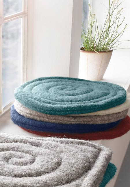 Stuhlkissen rund aus reiner Schurwolle