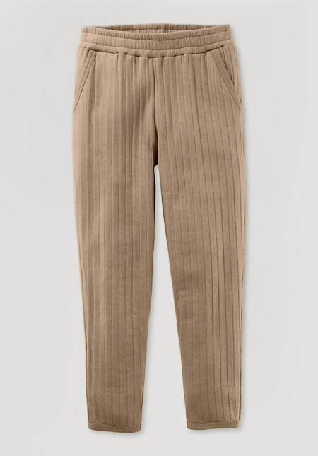 Sweatpants with quilted look made of pure organic cotton