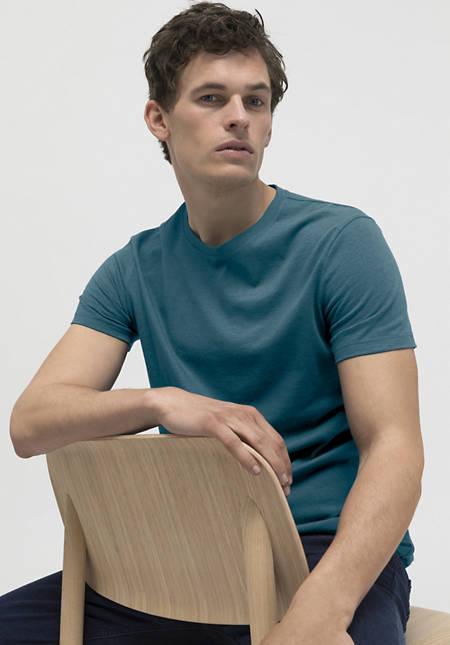 T-Shirt aus Bio-Baumwolle mit Schurwolle
