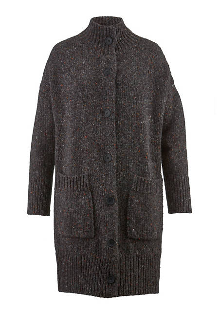 Tweed-Strickmantel aus reiner Schurwolle