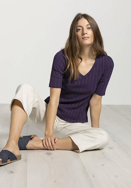 V-Shirt aus Bio-Baumwolle mit Hanf