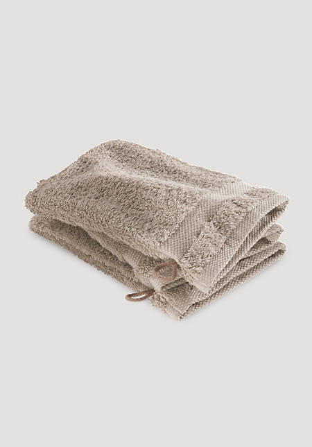 Wash mitt in a set of 3 made from pure organic terrycloth