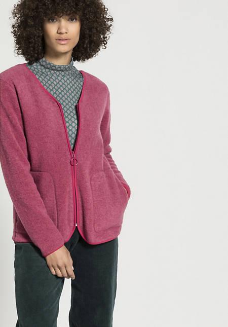 Wool fleece jacket made from pure organic new wool