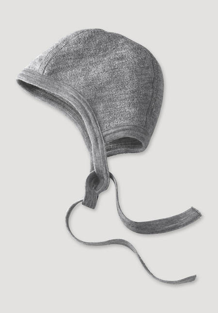 Wool terry cap made of pure organic merino wool