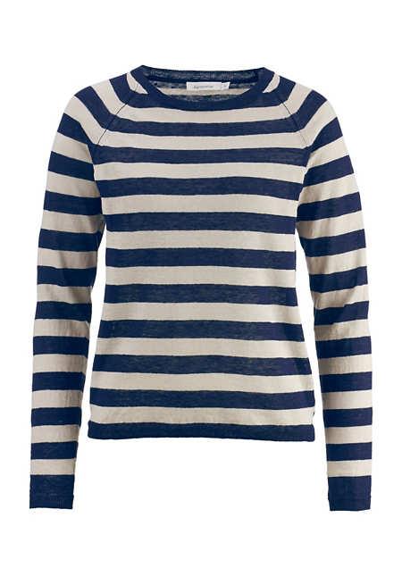 Blockstreifen-Pullover aus Leinen mit Seide