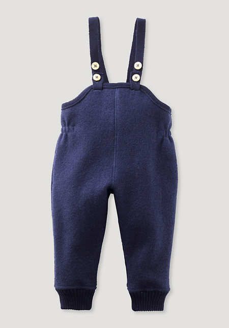 Boiled wool trousers made from pure organic merino wool