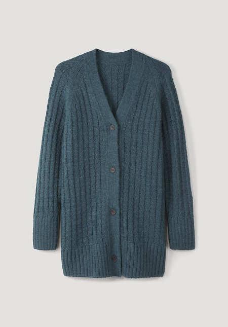 Cardigan made of alpaca and virgin wool