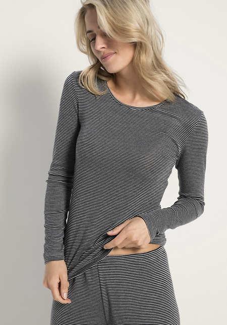 Damen Langarm-Shirt PureSTRIPES aus Bio-Merinowolle und Seide
