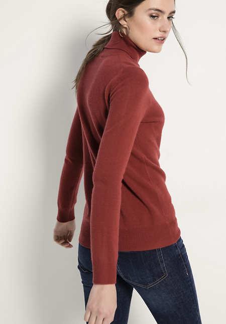 Damen Rollkragen-Pullover aus Schurwolle mit Kaschmir