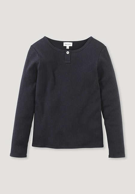 Henley shirt made of organic cotton with organic merino wool