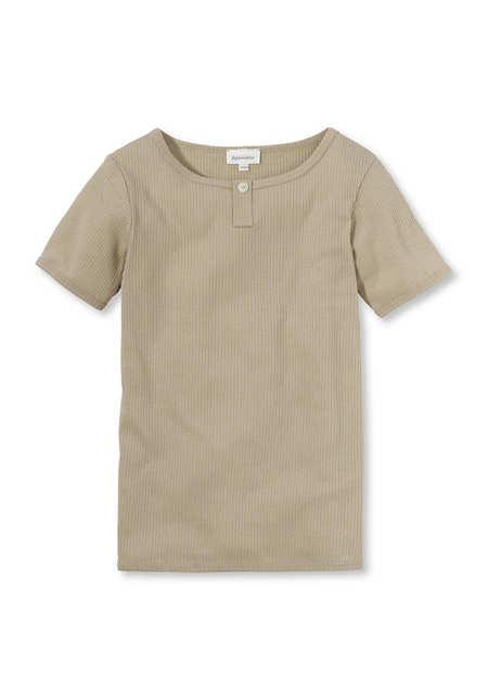 Henley shirt made of organic cotton with organic virgin wool