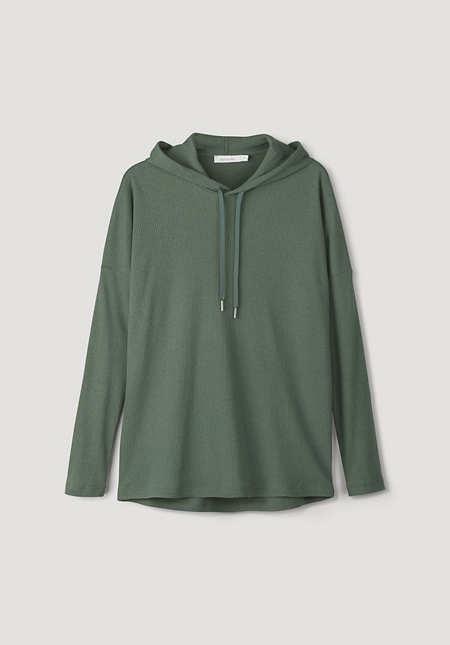 Hooded shirt made of organic cotton with merino wool