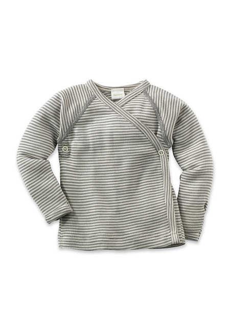 Langarm Wickelhemd aus Bio-Merinowolle mit Seide