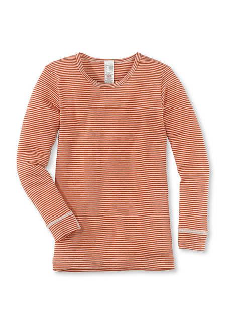 Langarmhemd aus Schurwolle mit Seide