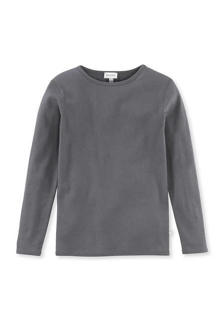 Langarmshirt aus Bio-Baumwolle mit Schurwolle