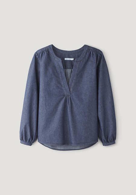 Light denim blouse made of pure organic cotton