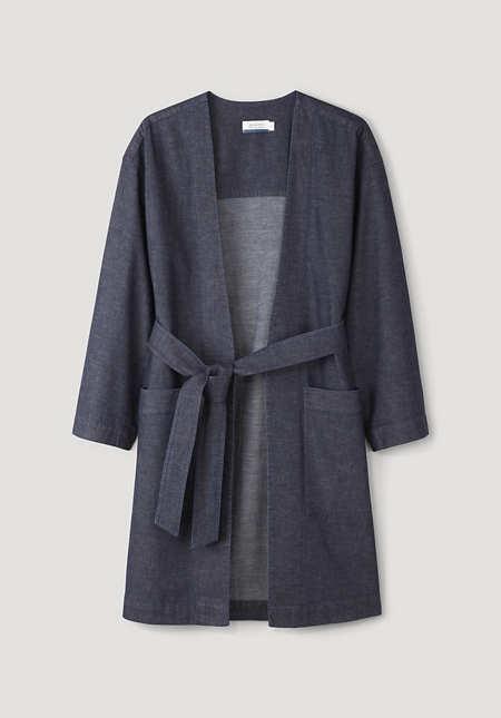 Light denim kimono made of organic cotton with linen