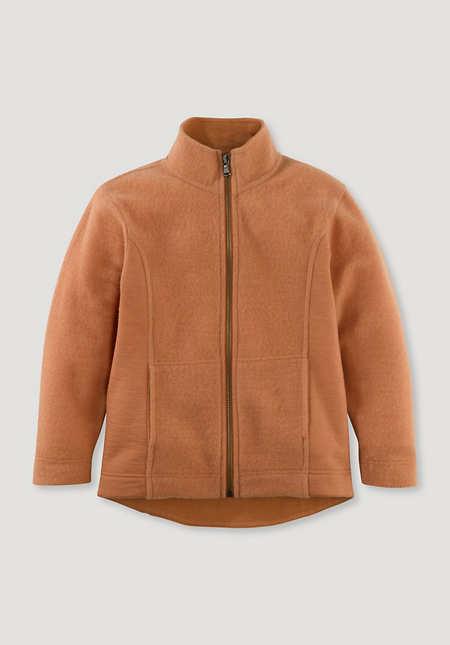 Light wool sweat jacket made from pure organic merino wool