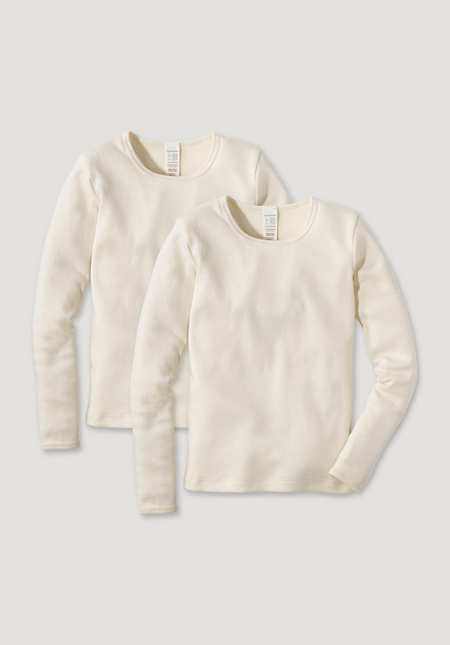 Long-sleeved shirt, set of 2, made of pure organic cotton