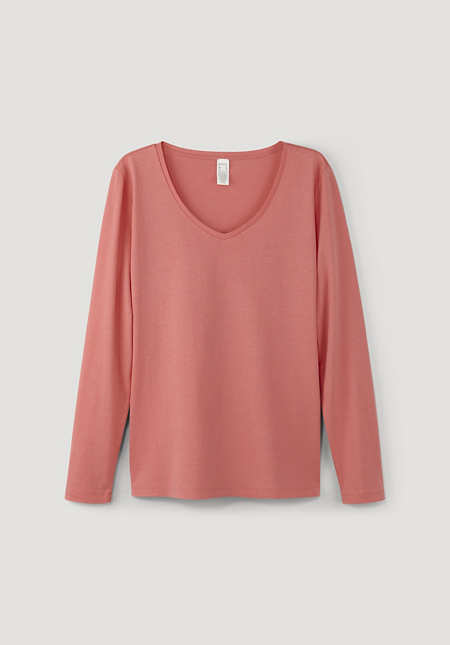 Long-sleeved shirt made of organic cotton with silk