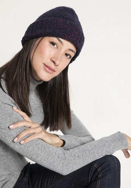 Mütze aus Schurwolle mit Alpaka und Bio-Baumwolle