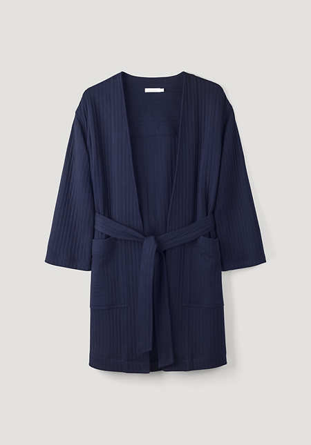 Padded jacquard overcoat made of pure organic cotton